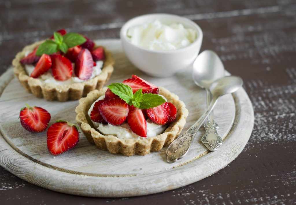 Coconut and Pistachio Strawberry Tarts